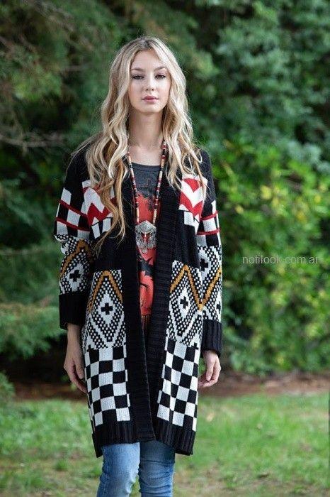 saco largo tejido estampas geometricas sophya otoño invierno 2019