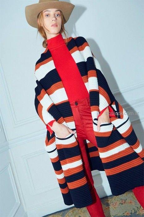 saco tejido pantalon gabardina y polera roja Maria Cher otoño invierno 2019