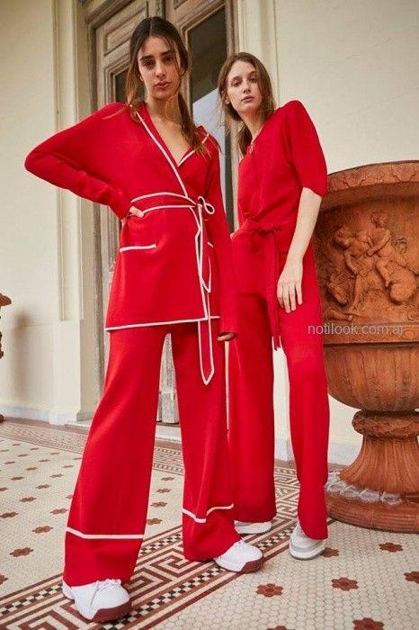 saco y pantalon rojo Maria Cher otoño invierno 2019