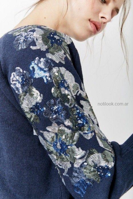 sweater azul bordado invierno 2019 by Rapsodia