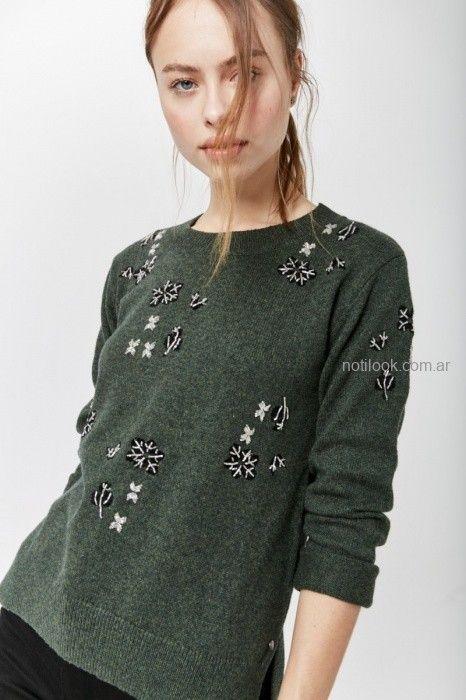 sweater verde militar bordado invierno 2019 by Rapsodia