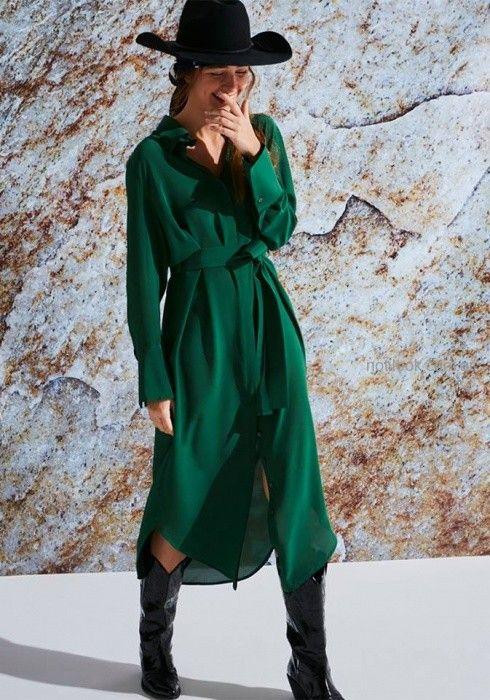 vestido camisero verde con lazo Maria Cher otoño invierno 2019