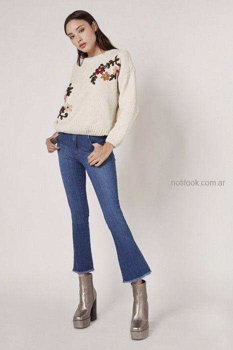 Viga jeans con buzo de lana tejido invierno 2019