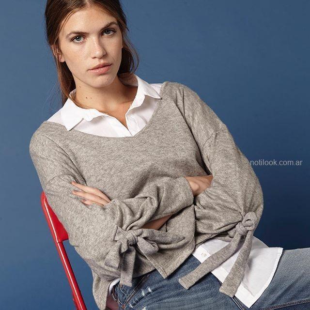 blusa de algodon gris invierno 2019 - KOXIS