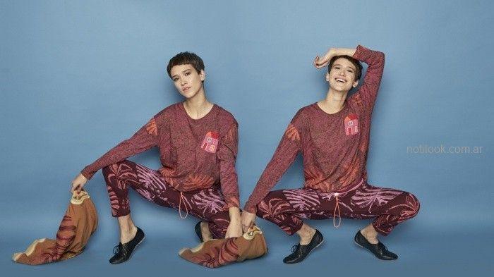 remera y calza estampda violeta invierno 2019 - Juana de arco - ropa para yoga