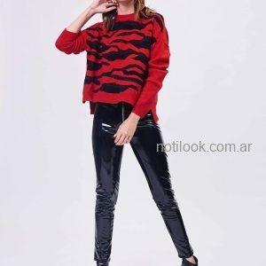 sweater animal print con pantalon vinilo invierno 2019 - Zhoue