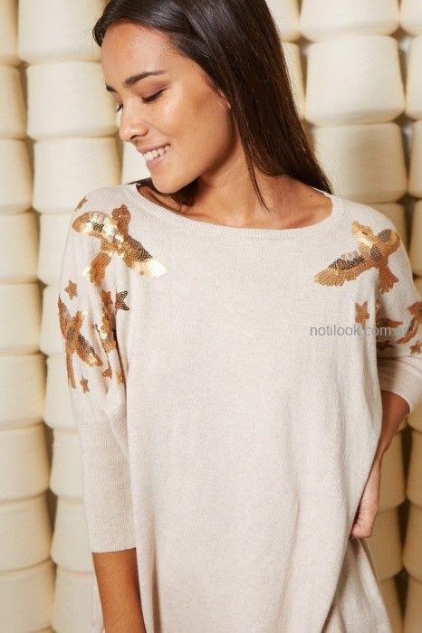sweater con apliques dorados mujer milli invierno 2019