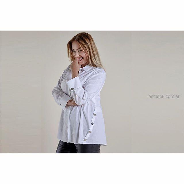 camisa blanca talles grandes mujer Mamy Blue invierno 2019.jpg