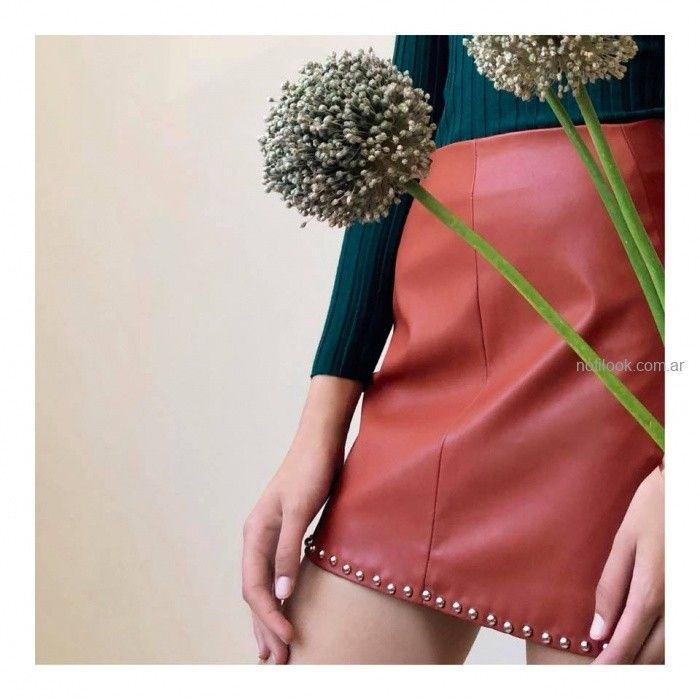 minifalda cuero akiabara invierno 2019