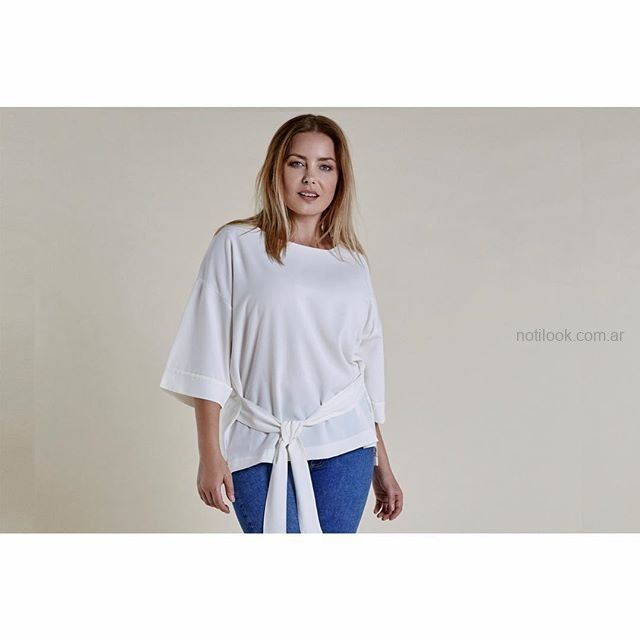 remera blanca talles grandes mujer Mamy Blue invierno 2019