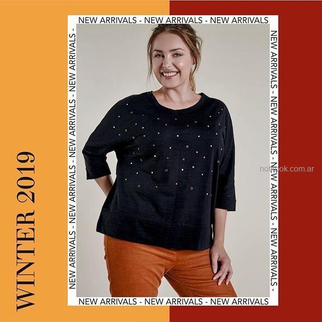 remera con apliques de perlas talles grandes mujer Mamy Blue invierno 2019