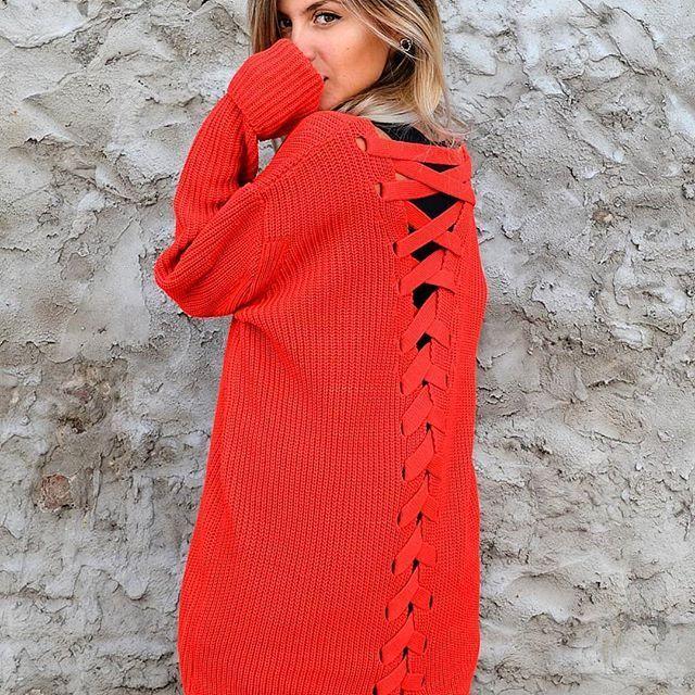 sweater largo con trenzado en la espalda Dorcastar invierno 2019
