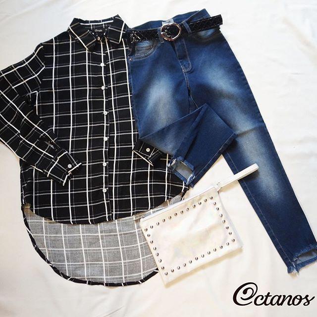 Octanos Jeans mujer con camisa a cuadros invierno 2019