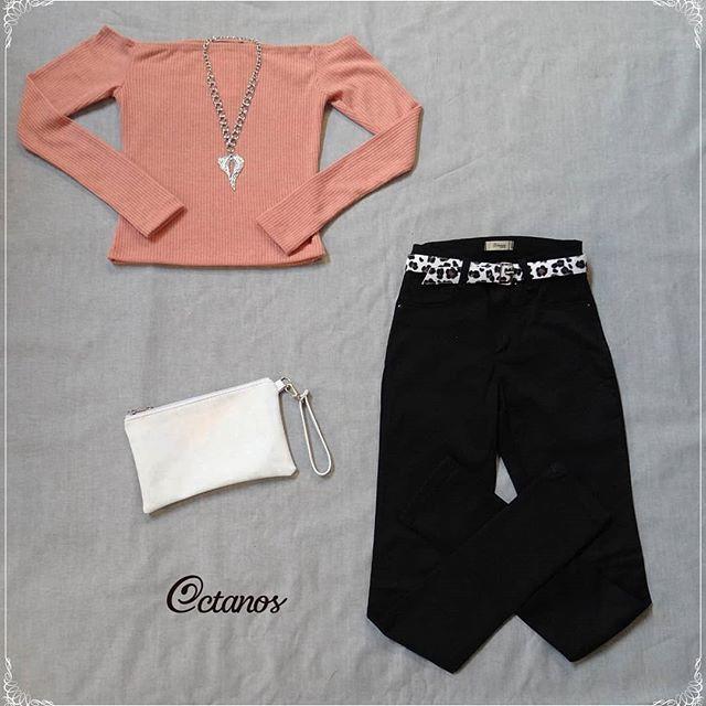 Octanos Jeans mujer con top rosainvierno 2019