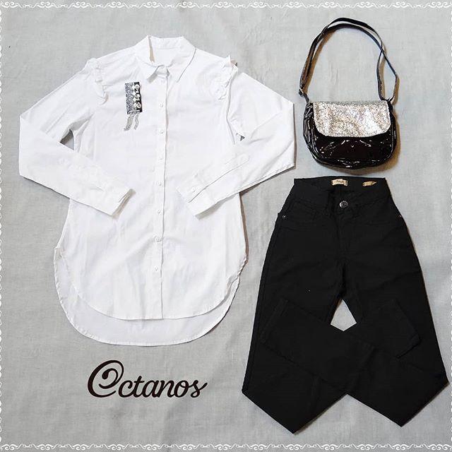 Octanos Jeans negro mujer con camisa blanca invierno 2019