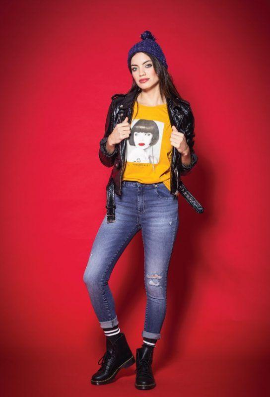 Tabatha Jeans y campera engomada invierno 2019