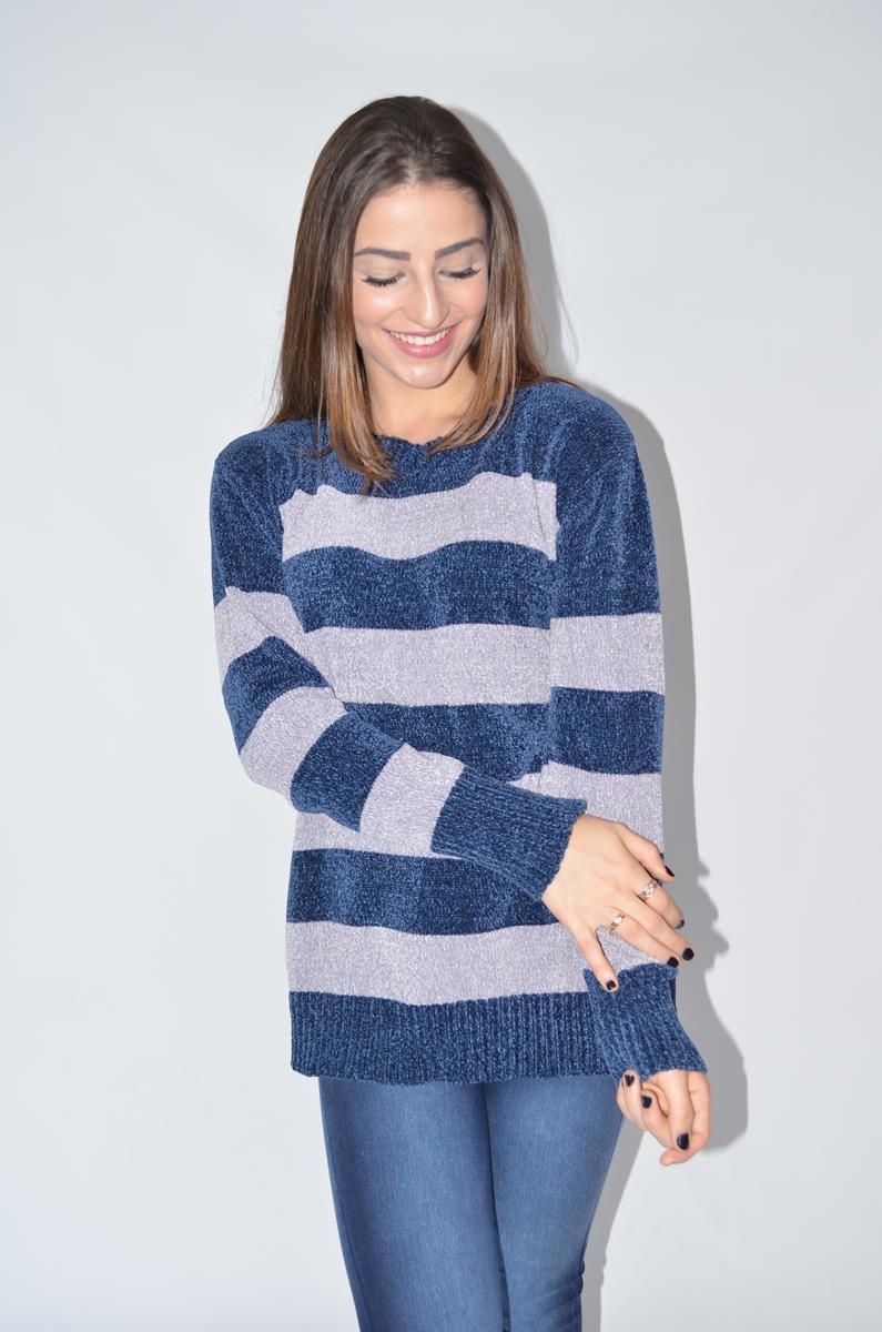 buzo de lana mujer con jeans Coco rayado invierno 2019