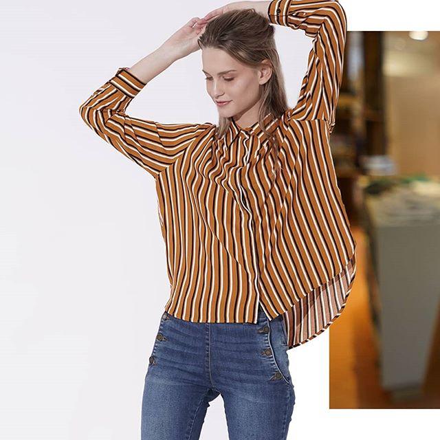 camisa casual a rayas mujer Oassian invierno 2019