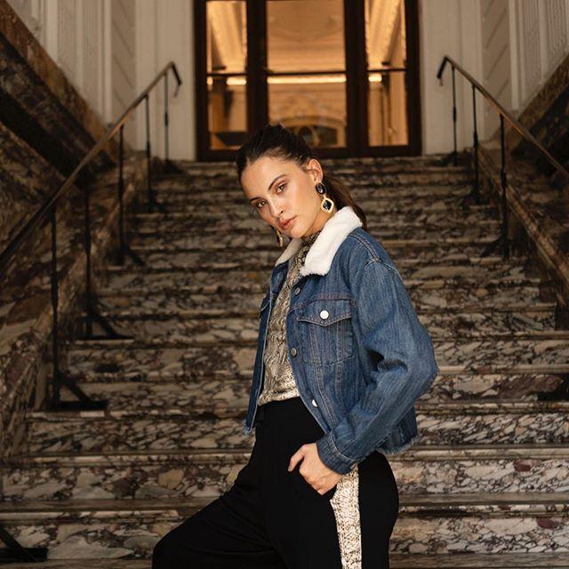 campera jeans con corderito Sofia Caputo invierno 2019