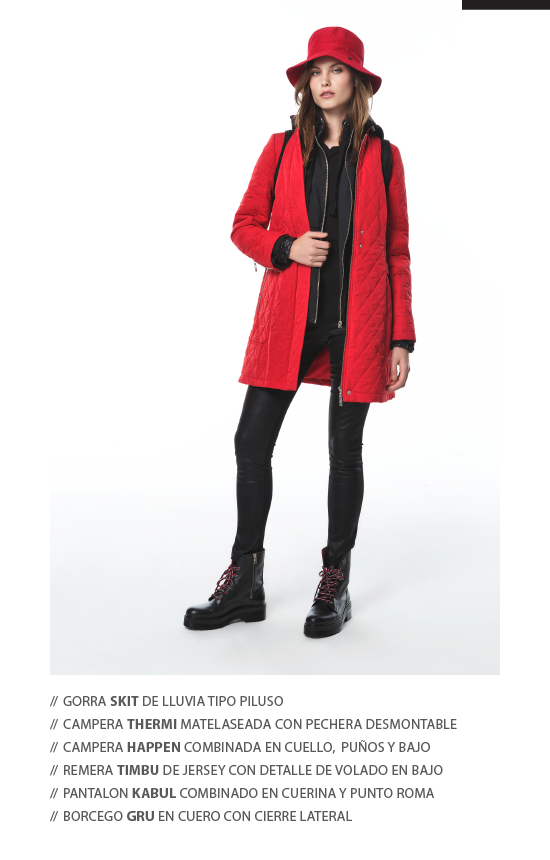 campera largo medio matelase y gorro rojo look para dias de lluvia mujer Perramus invierno 2019