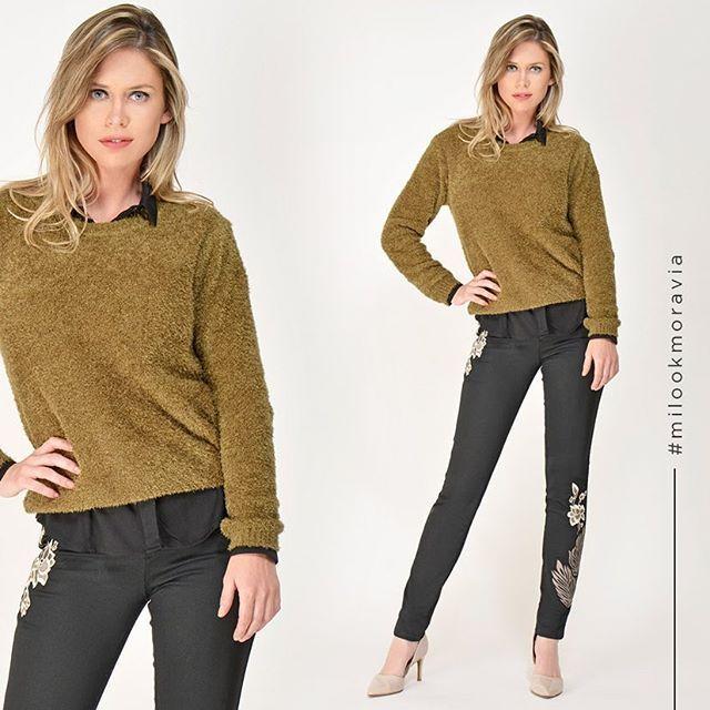 look con jeans bordados para señoras Moravia Jeans invierno 2019