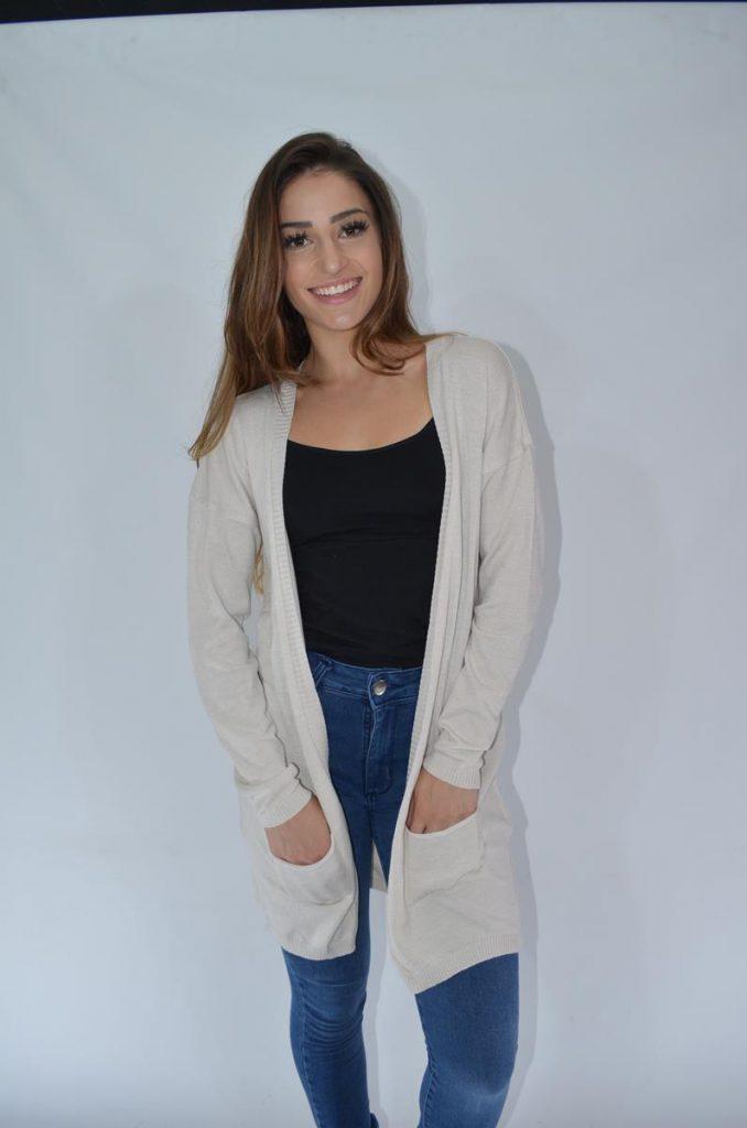 look mujer cardigan largo con jeans Coco rayado invierno 2019