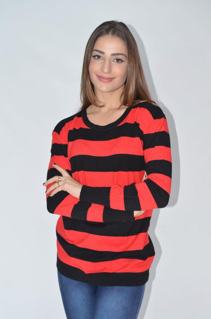 sweater a rayas con jeans Coco rayado invierno 2019