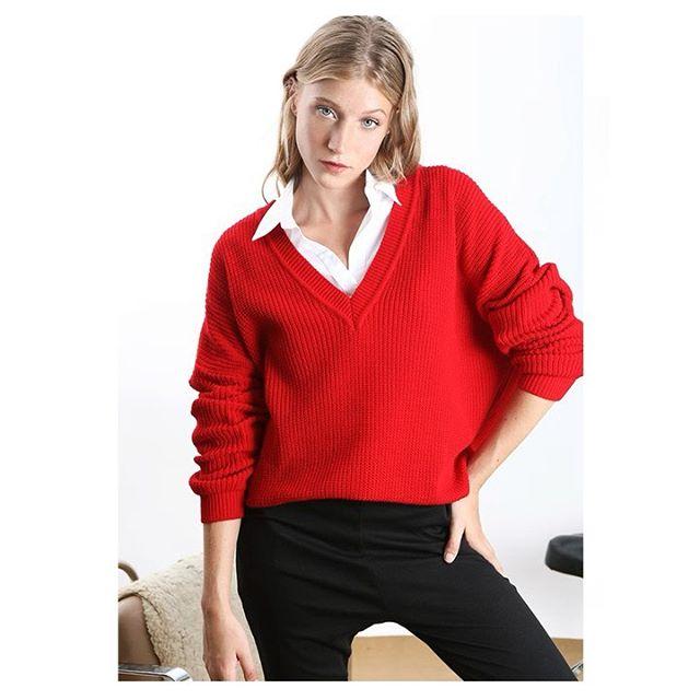 sweater escote en ve mujer cenizas invierno 2019