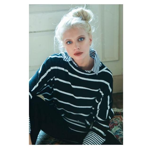 sweater y camisa a rayas mujer cenizas invierno 2019