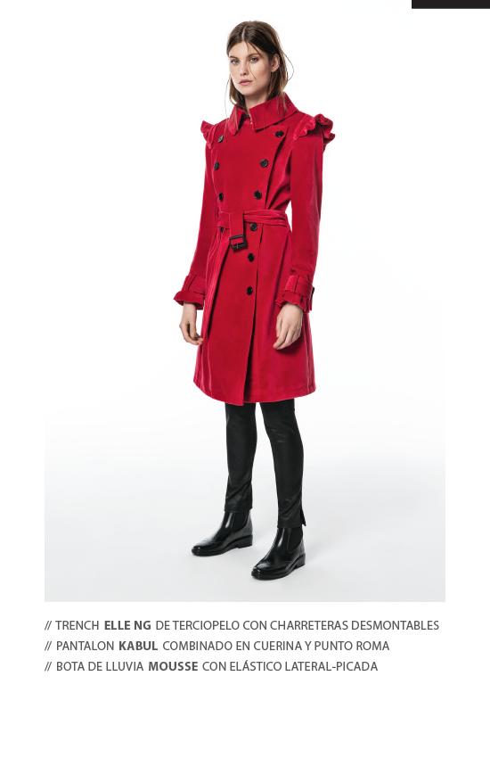 trench de terciopelo rojo look para dias de lluvia mujer Perramus invierno 2019