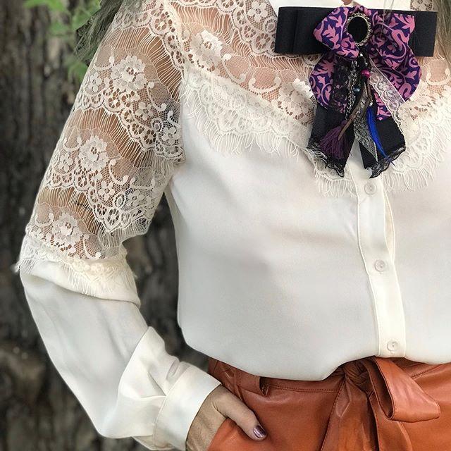 camisa con recortes de microtul bordado boho chic Pago Chico invierno 2019