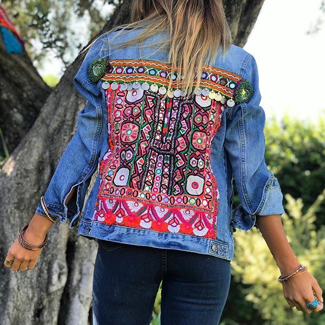 campera jeans bordada boho chic Pago Chico invierno 2019