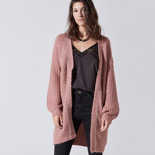cardigan largo de lana tejido India Style invierno 2019