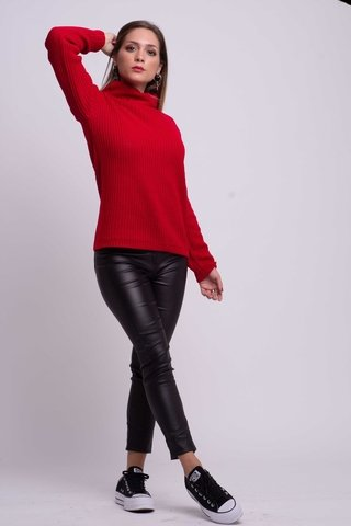 look casual con pantalon y polera de lana de cuero arizona invierno 2019