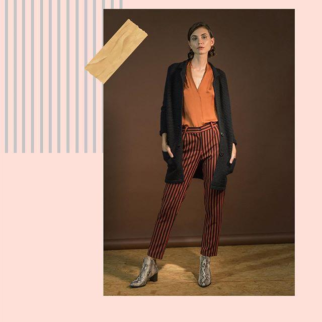look urbano mujer con pantalon a rayas Edel Erra invierno 2019