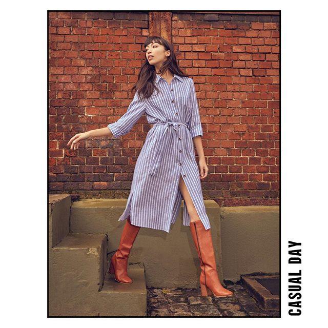 look urbano mujer con vestido camisero Le Utthe invierno 2019