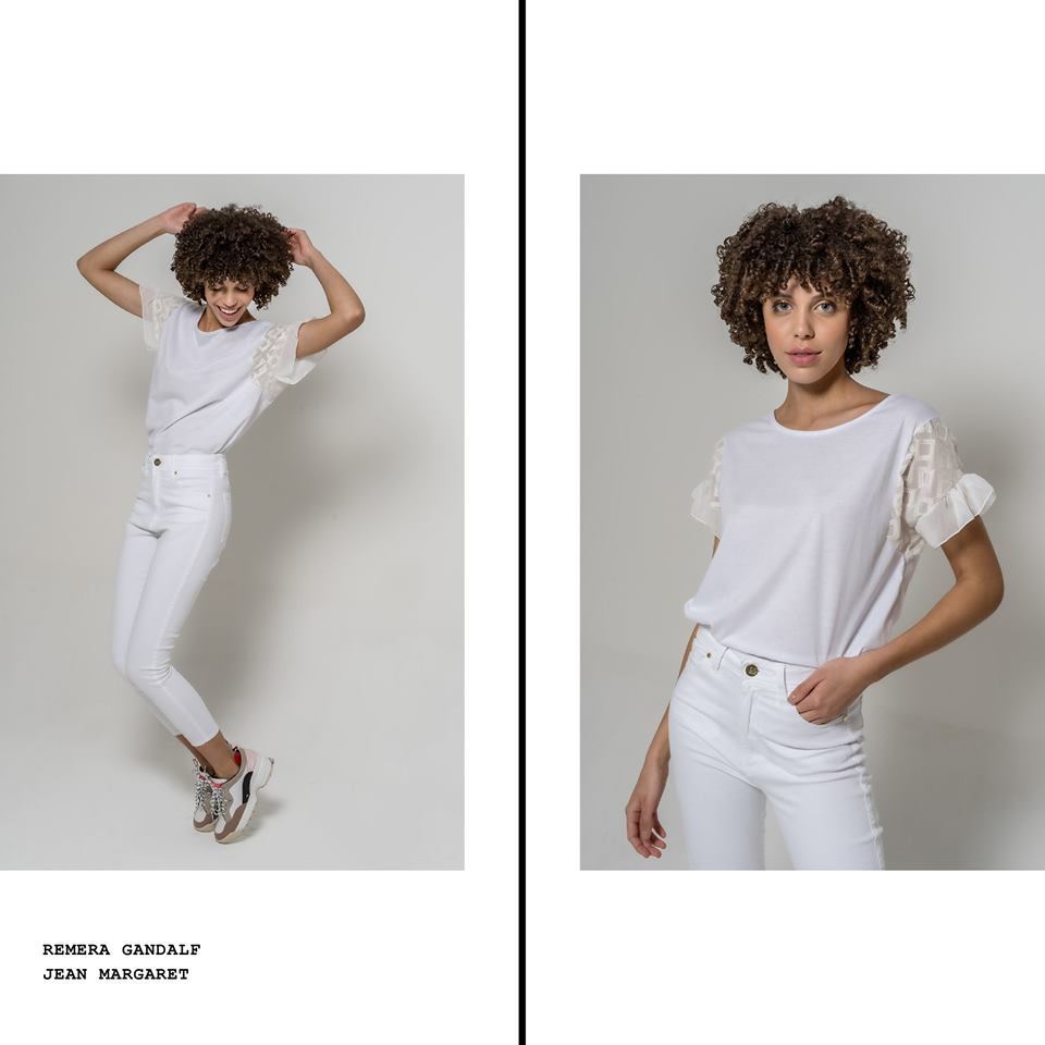 Blusa blanca mangas cortas de encaje La cofradia verano 2020