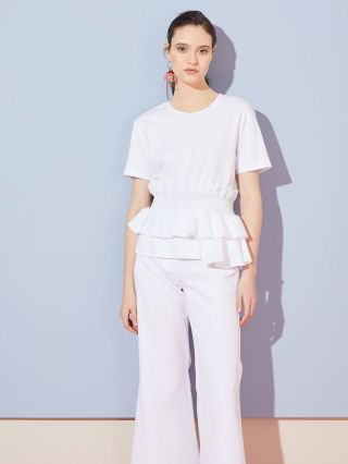blusa blanca mmangas cortas con volados Jazmin chebar verano 2020