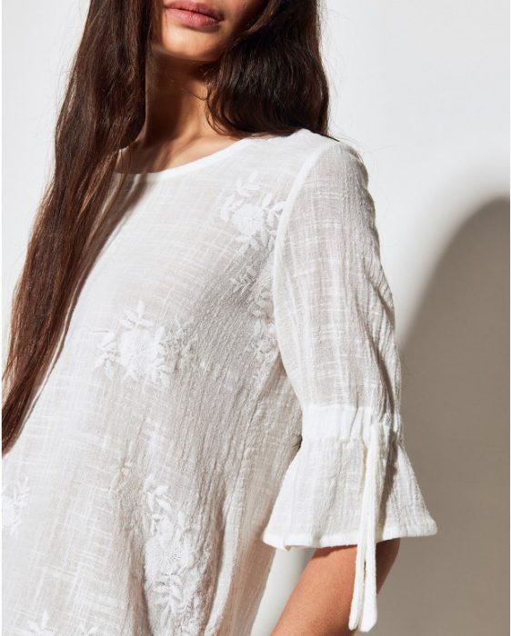 Blusa blanca de lino moderno verano 2020 Portsaid
