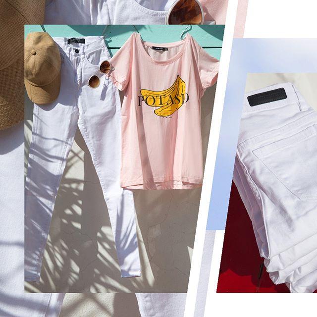 Jeans blanco para mujer Striven primavera verano 2020