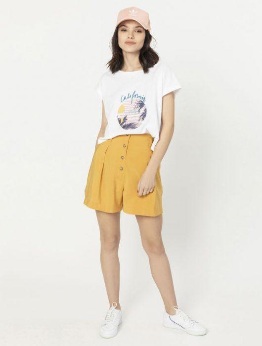 Remera basica y short amarillo verano 2020 Asterisco
