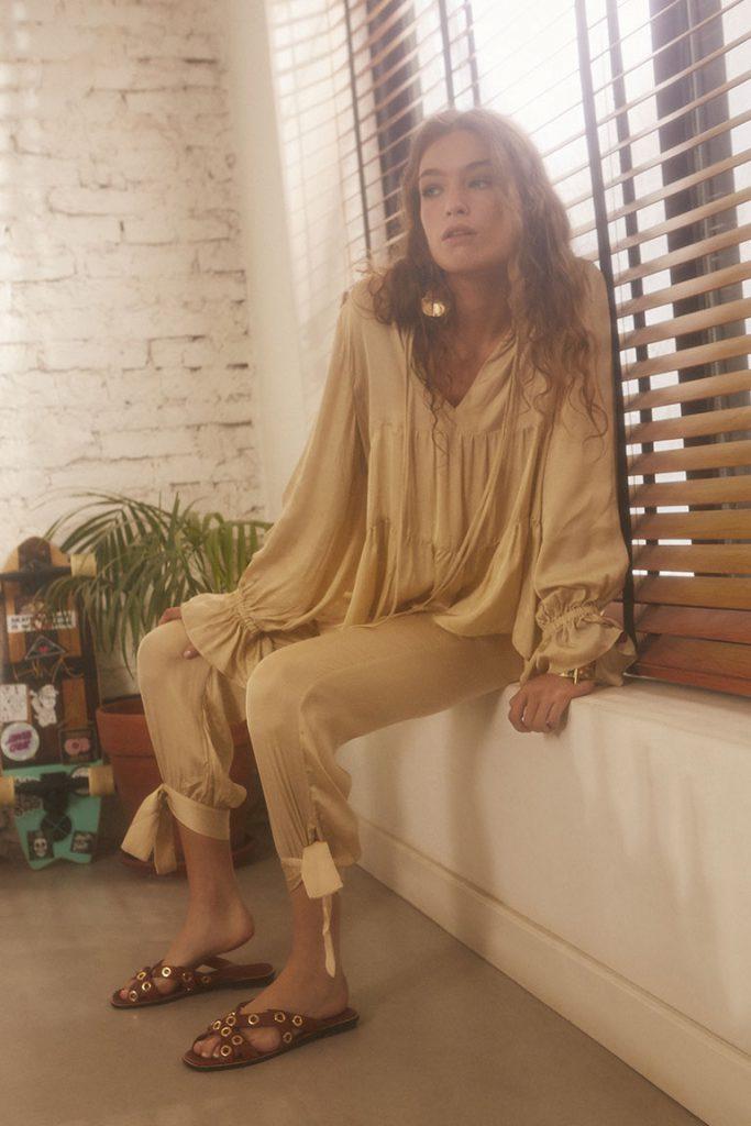 babucha y camisola beige Maria Cher Looks de moda para mujer verano 2020