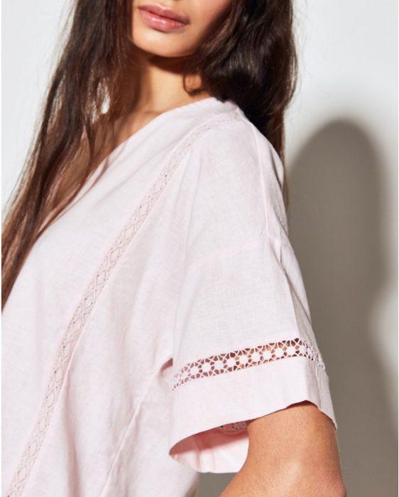 blusa rosa de lino moderno verano 2020 Portsaid