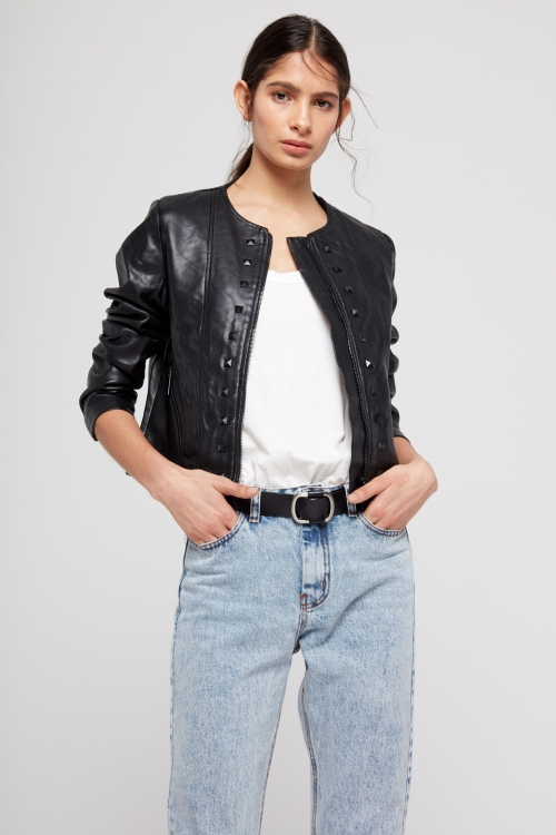chaqueta negra de cuero verano 2020 ST Marie