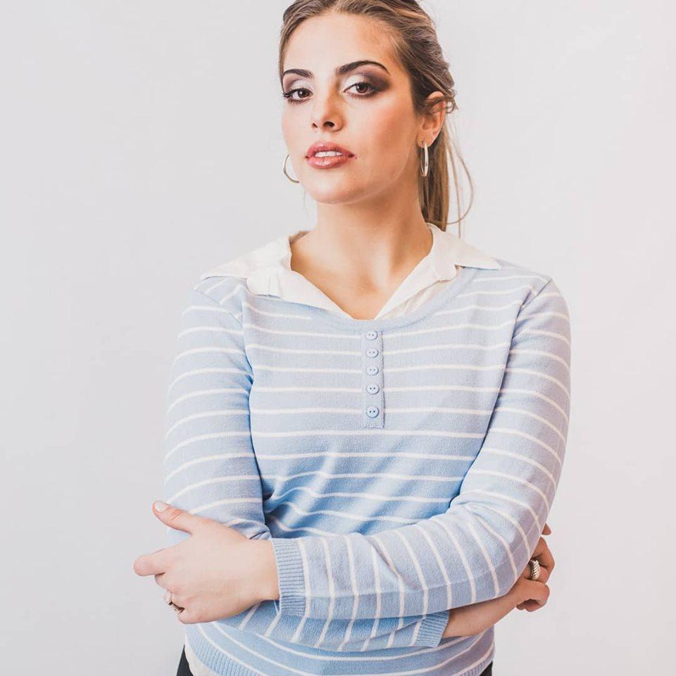 cuesta azul sweater hilo a rayas mujer verano 2020