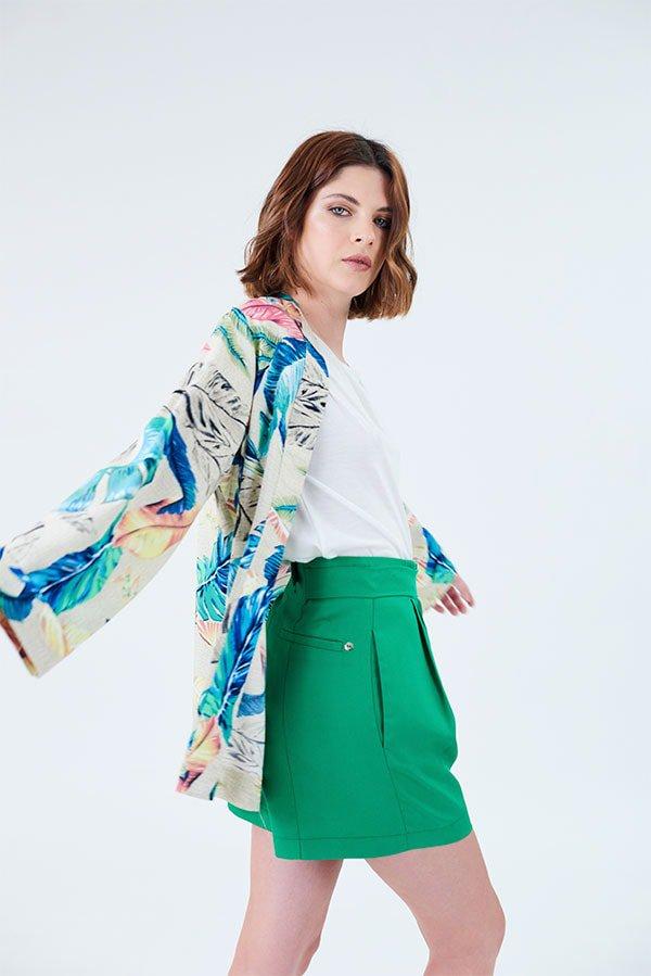 look urbano short sastrero y kimono zhoue verano 2020