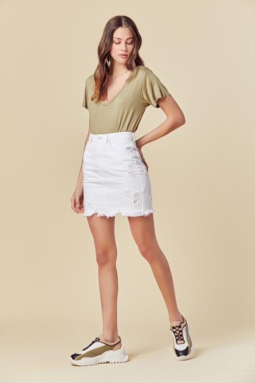 minifalda jeans blanca primavera verano 2020 Tucci