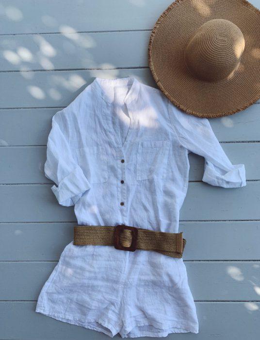 mono corto blanco Lino Piccola verano 2020