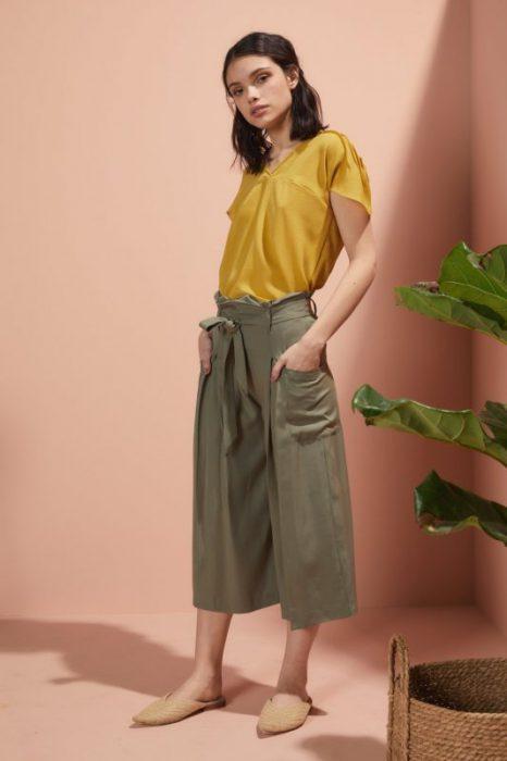 pantalon ancho capri ancho con lazo Edel Erra verano 2020