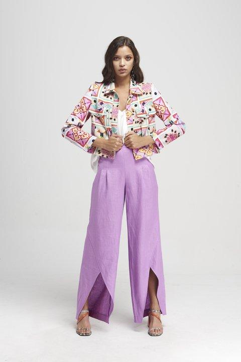 pantalon largo con tajo y chaqueta estampada Naima verano 2020